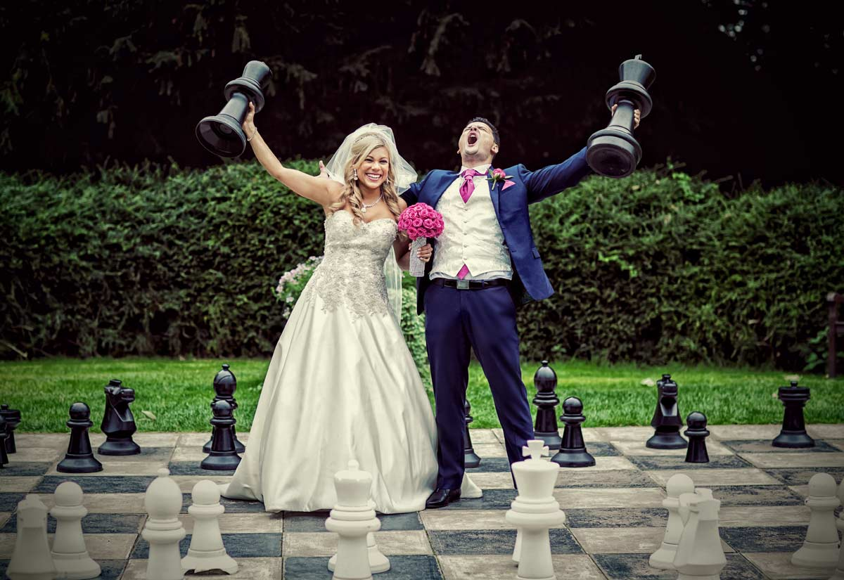 wedding couple on Chess board Down Hall Country House