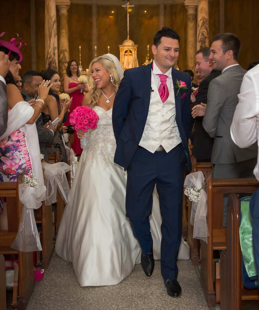 wedding recessional shot Essex church