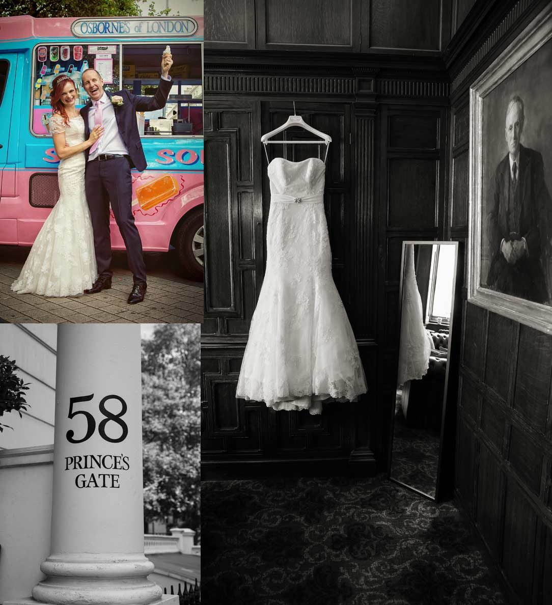 London Kensington wedding collage