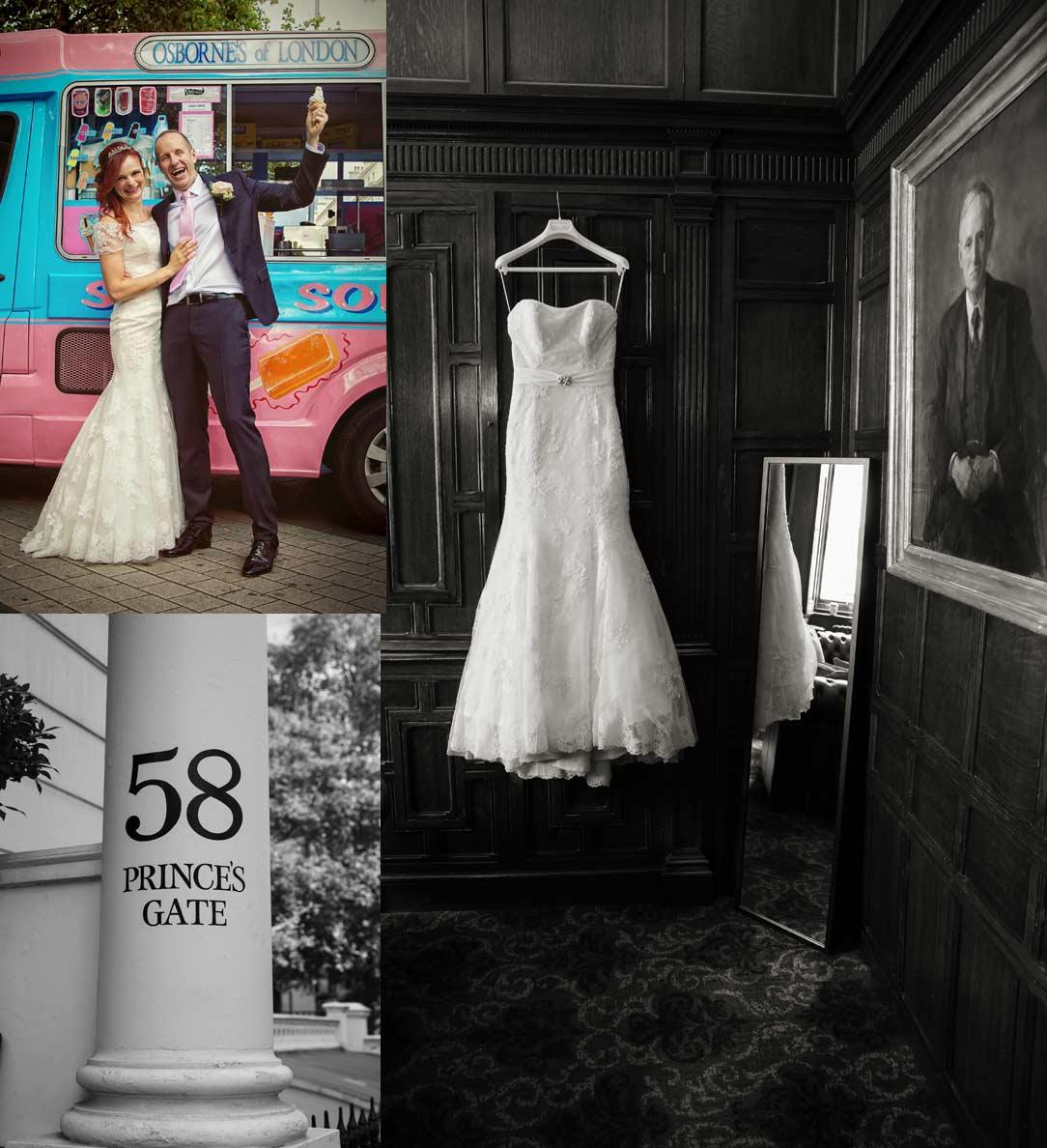 London Kensington wedding collage