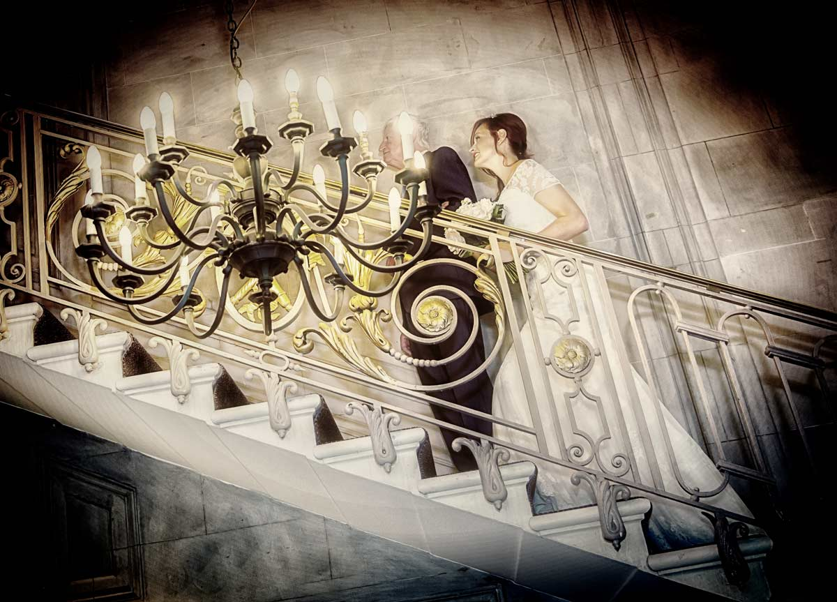 climbing Princes Gate stairs for London wedding ceremony image