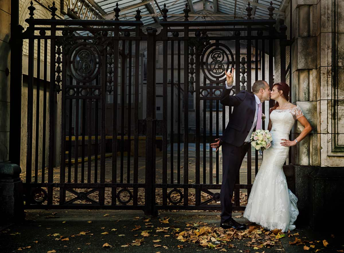 wedding couple by Science museum south Kensington London image