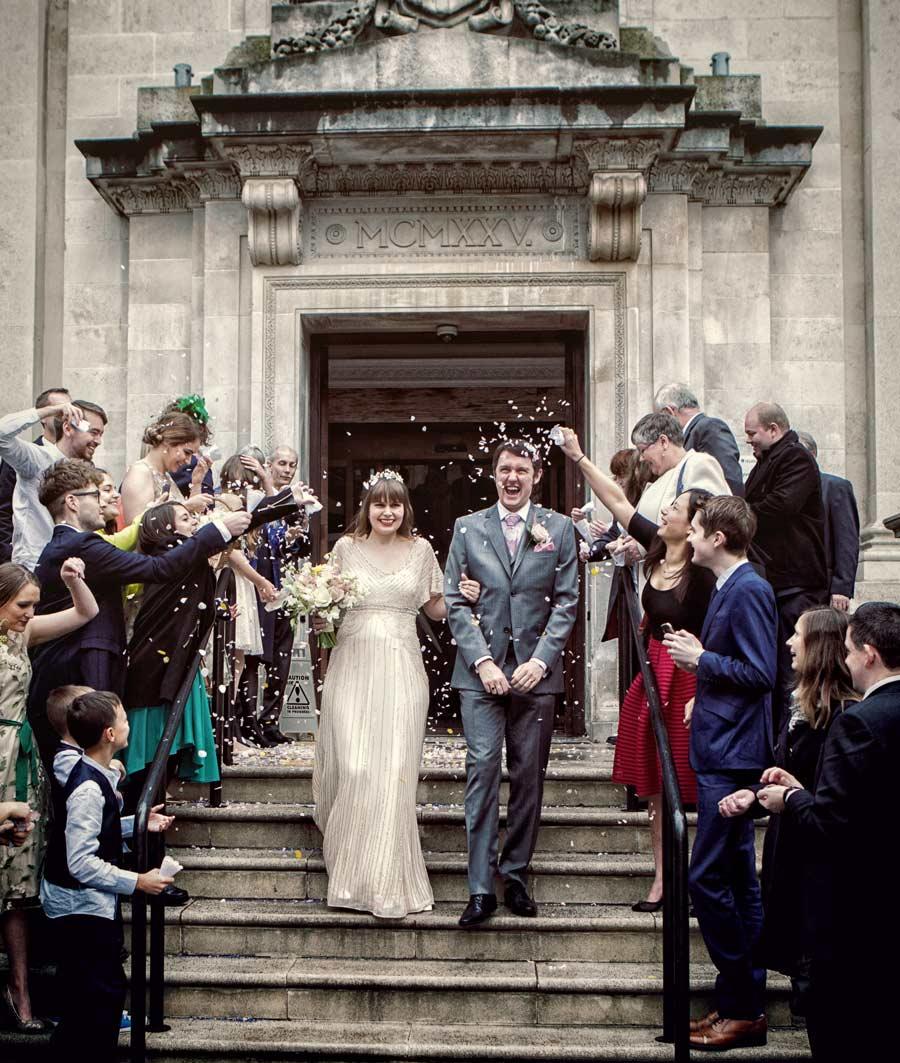 Confetti thrown at Islington wedding