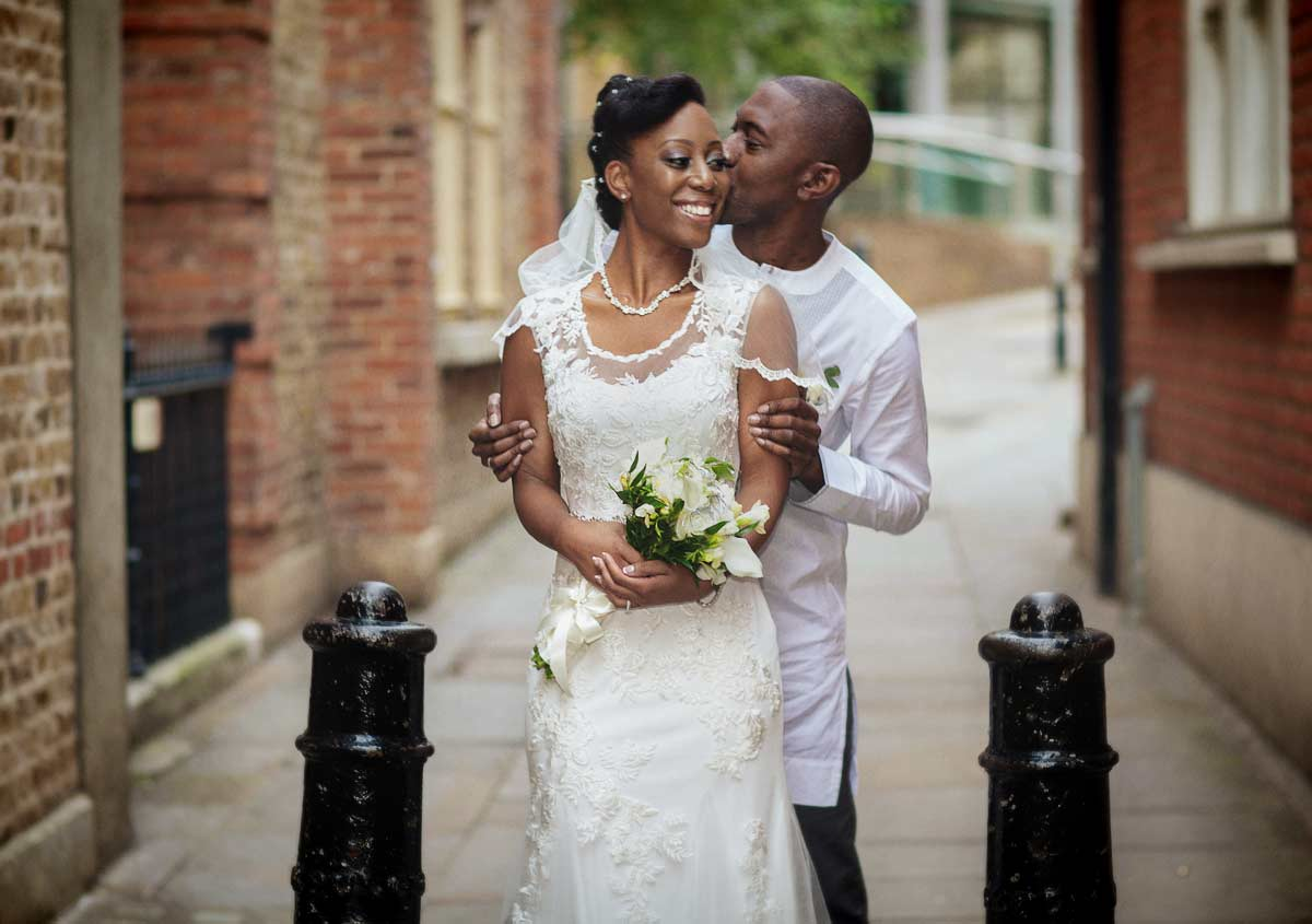 Photo of wedding couple near Farringdon Station