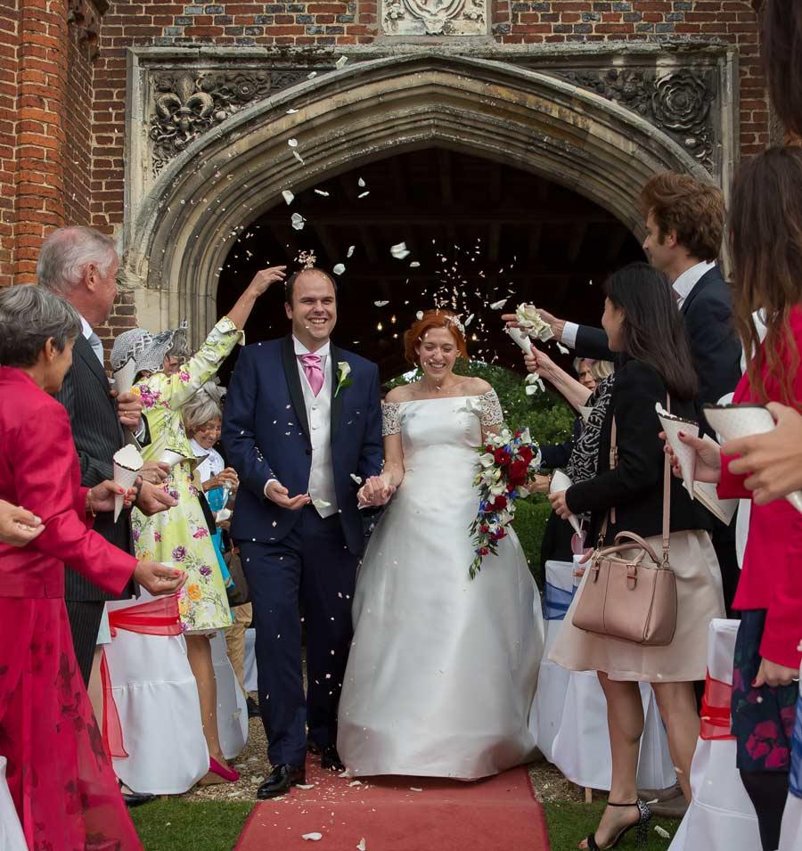 confetti throw at Leez Priory wedding ceremony