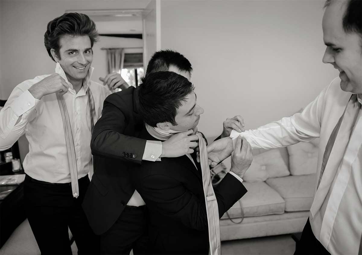 groomsmen get ready before the wedding