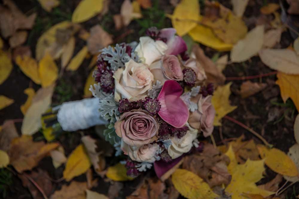 photo of Islington wedding bouquet on autumn leaves
