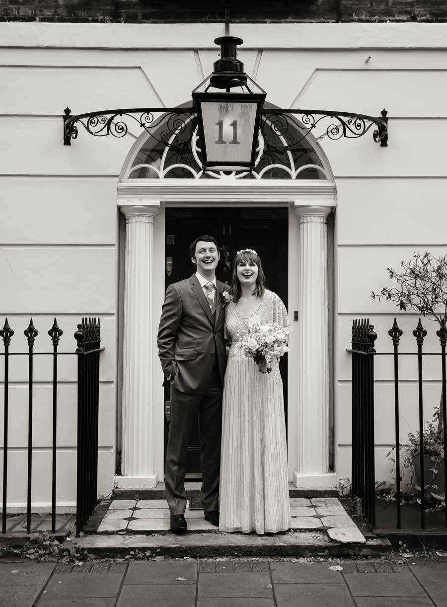 photo taken in door way central London wedding day