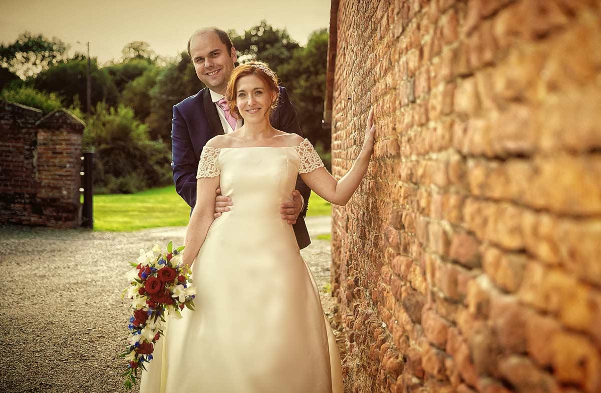 sunset wedding couple shot at Leez Priory