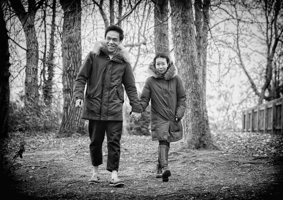 Muscle Hill wedding couple in woods