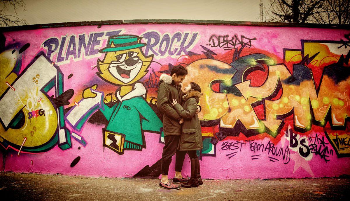 Wedding couple by Alexandra Palace skate park