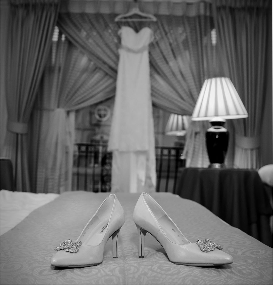 Wedding dress hanging at the London Landmark Hotel