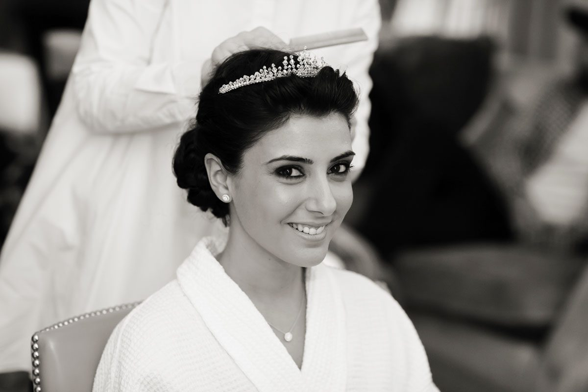 bride gets ready at the Landmark hotel London