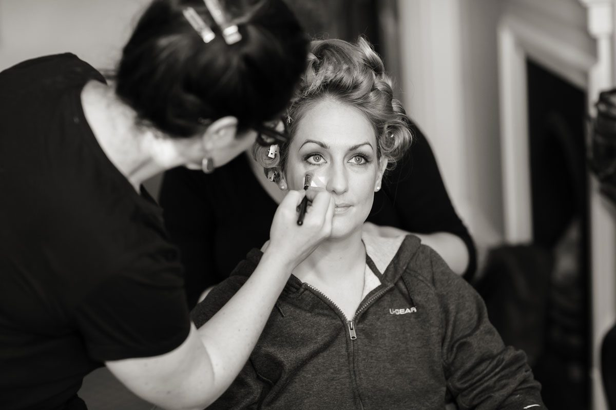 Bridal preparation at Hampton Court wedding day photo
