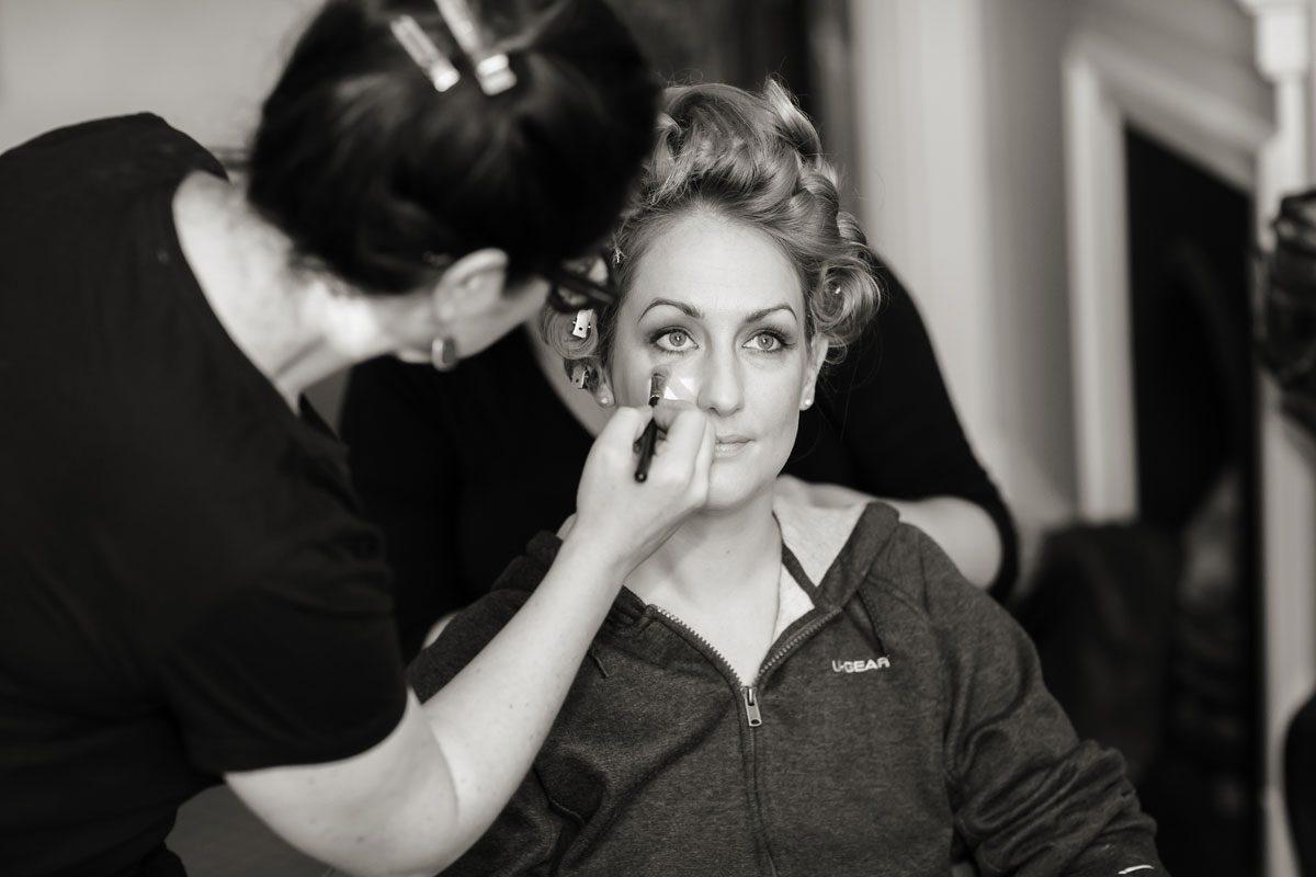 Bridal preparation at Hampton Court wedding day photo