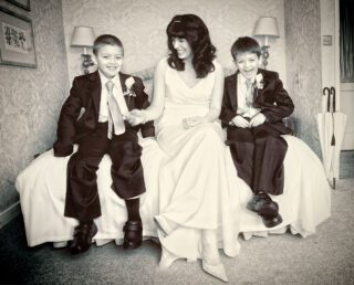 Bride and children at West Lodge Park wedding