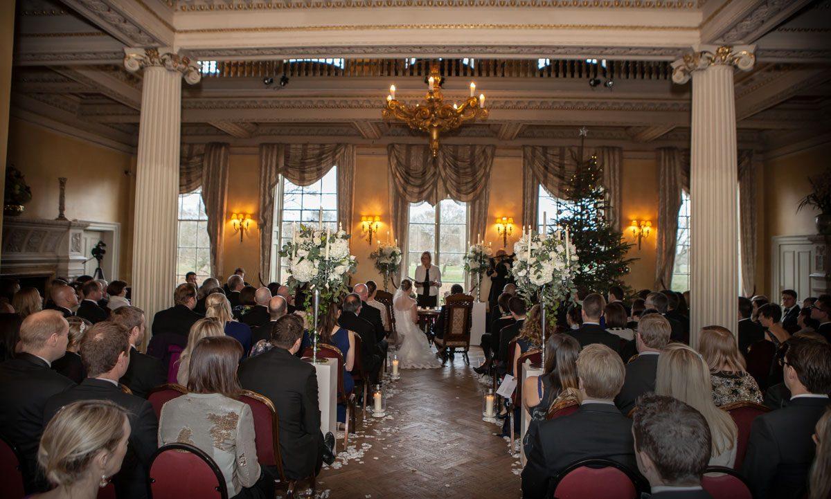 Hampton Court house wedding ceremony congregation shot