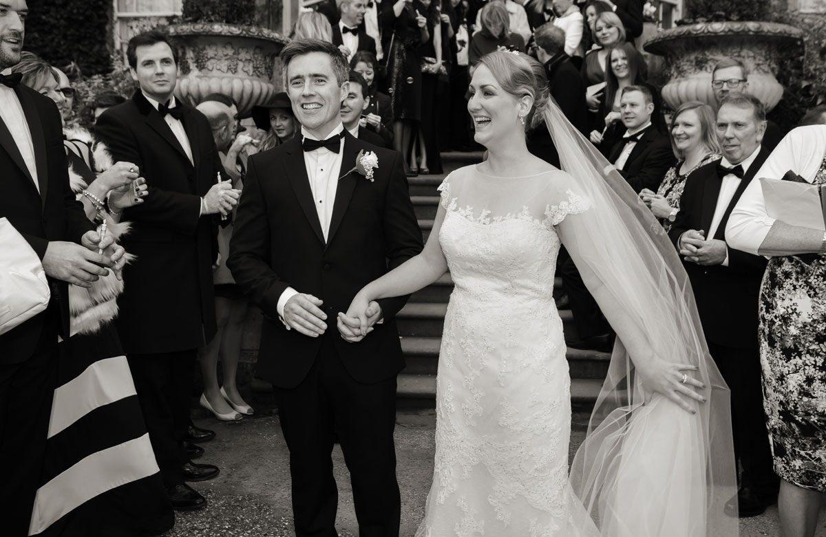 Wedding couple happy at Hampton Court London
