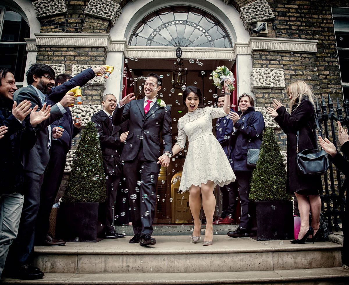 Bubblesand confetti at Asia House London wedding shot