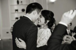 Hugging during wedding ceremony at London's Asia House