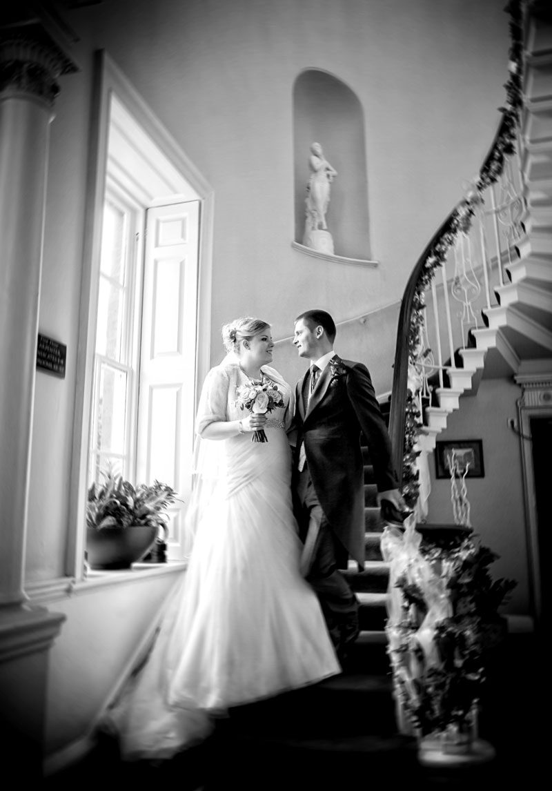 Theobalds Park wedding couple on stairs