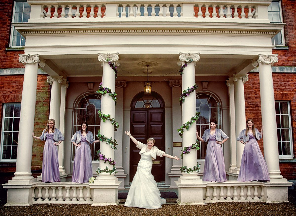 Theobalds Park wedding photographer with bridesmaids