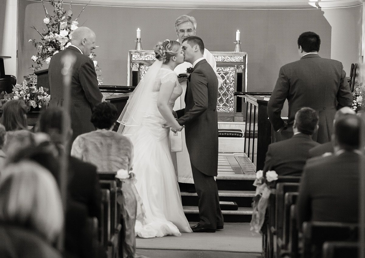 kissing at Totteridge church in London