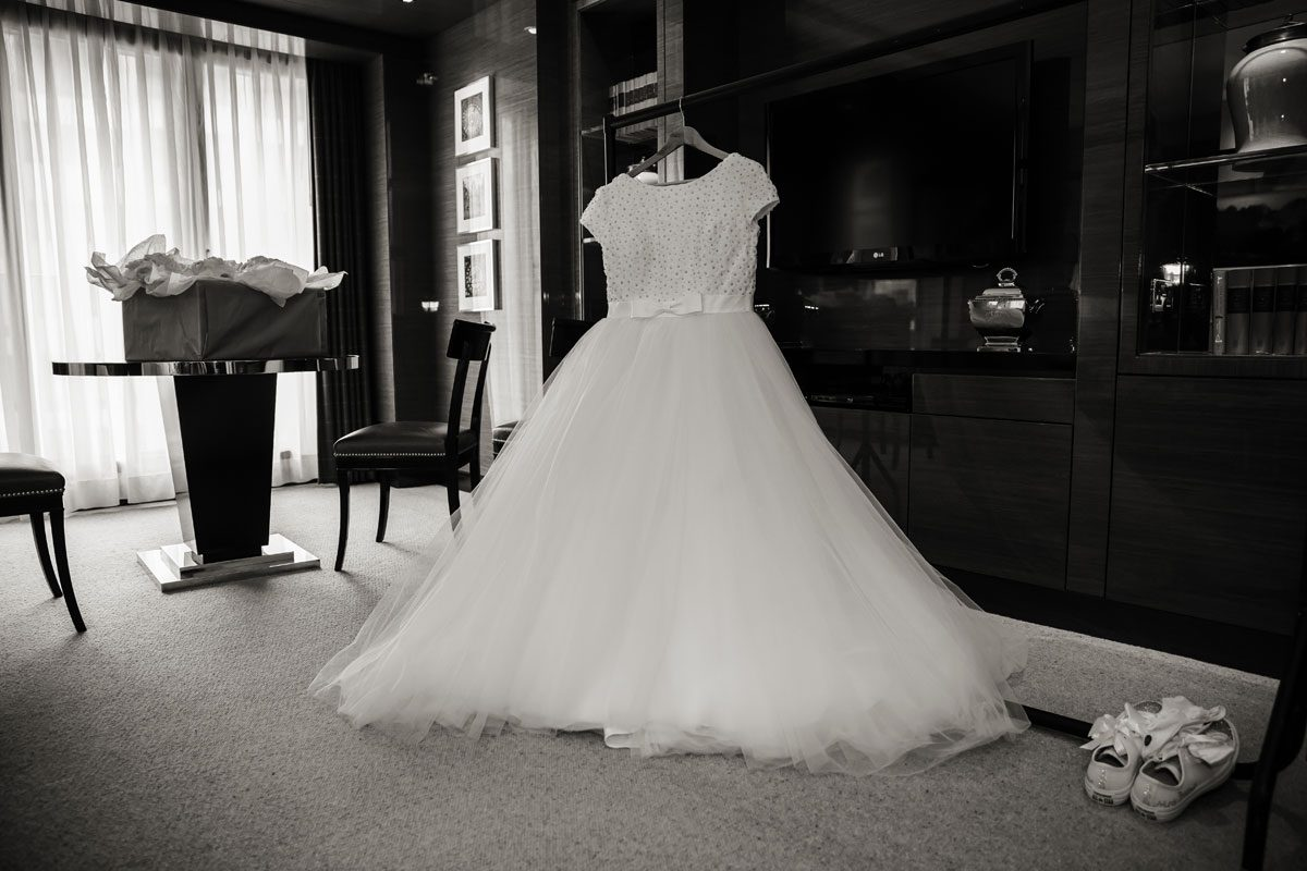 wedding dress hanging at Four Seasons Hotel London