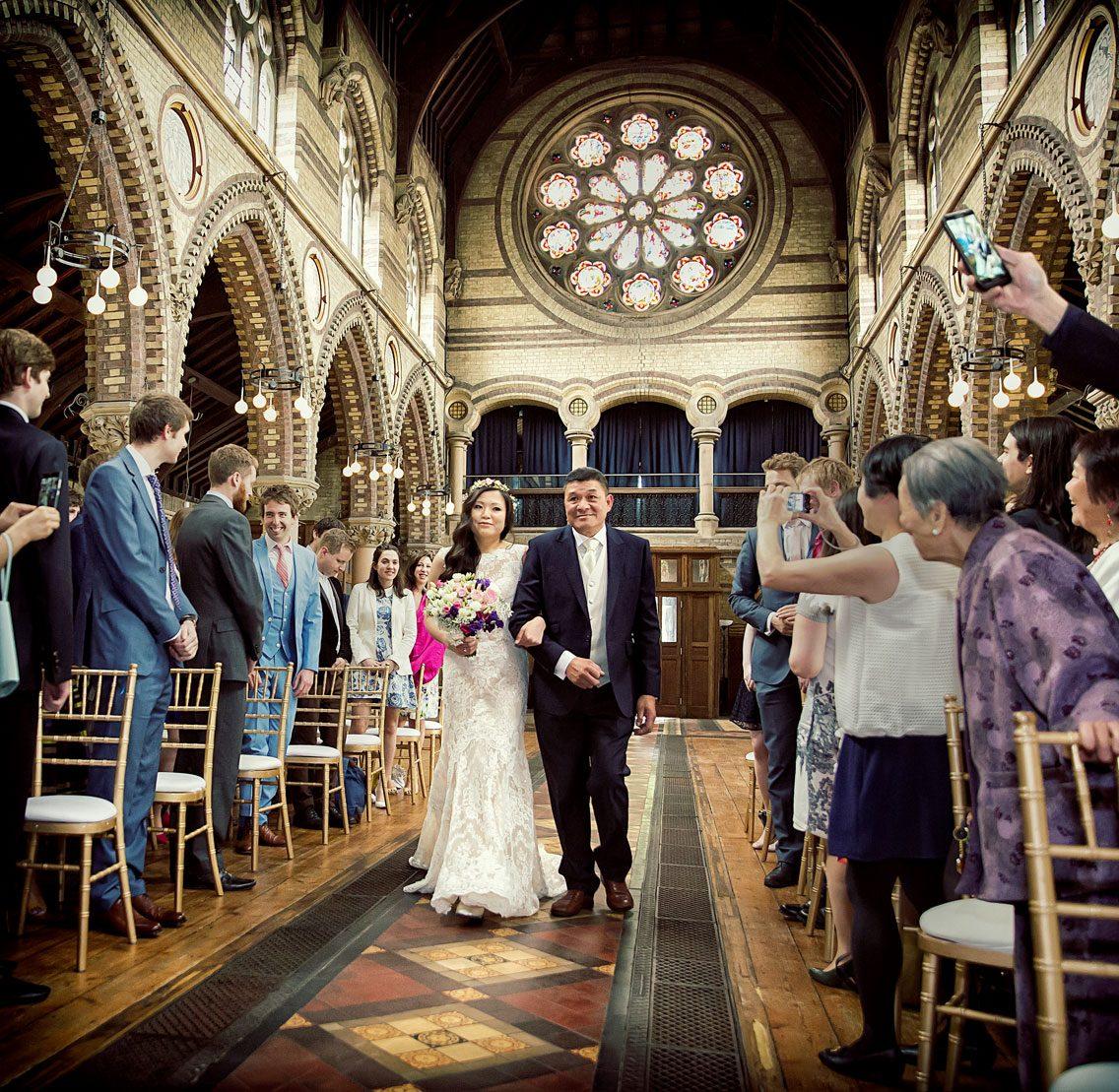 Bride walks down the aisle at Hampstead wedding