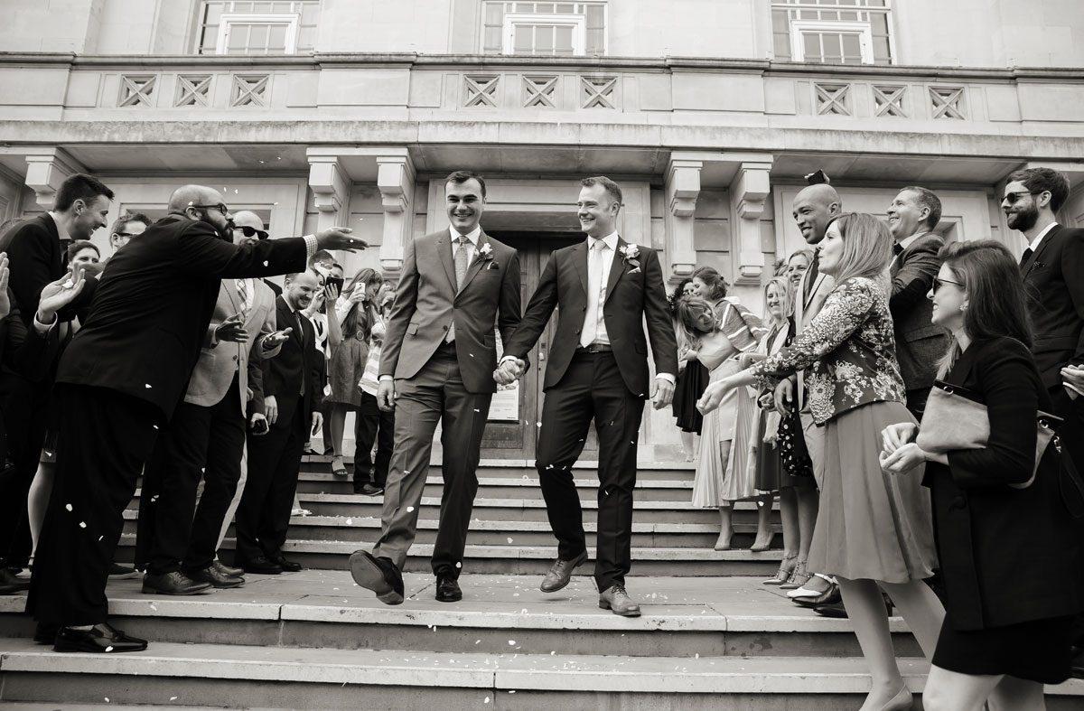 Confetti shot at Hackney Town Hall wedding