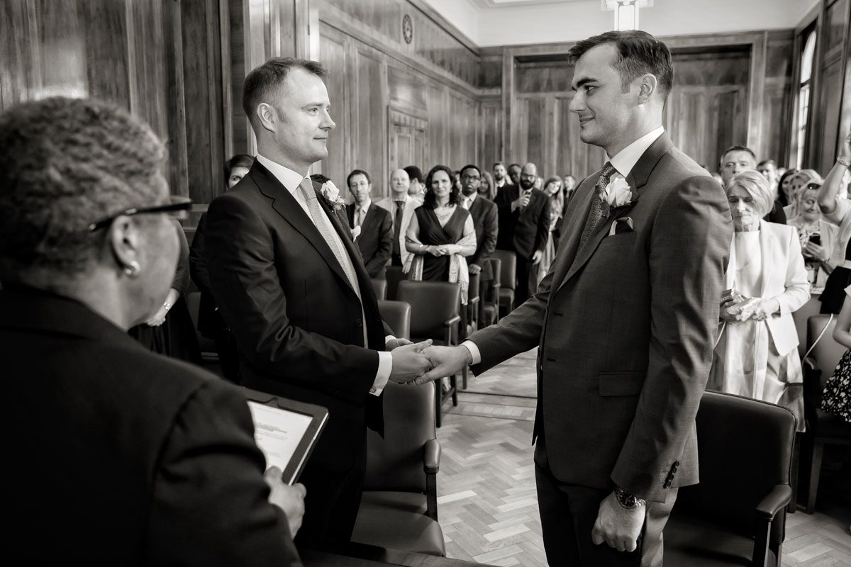 Gay wedding ceremony at Hackney Town Hall