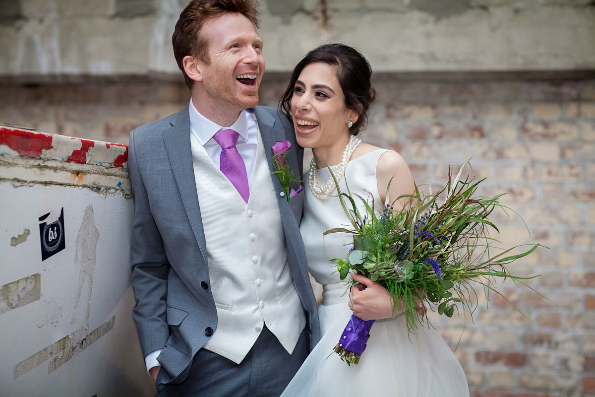 Oxo Tower wedding couple on London's Southbank