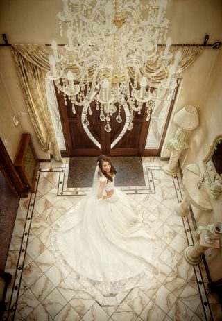 London bride photographed from above at Italian wedding