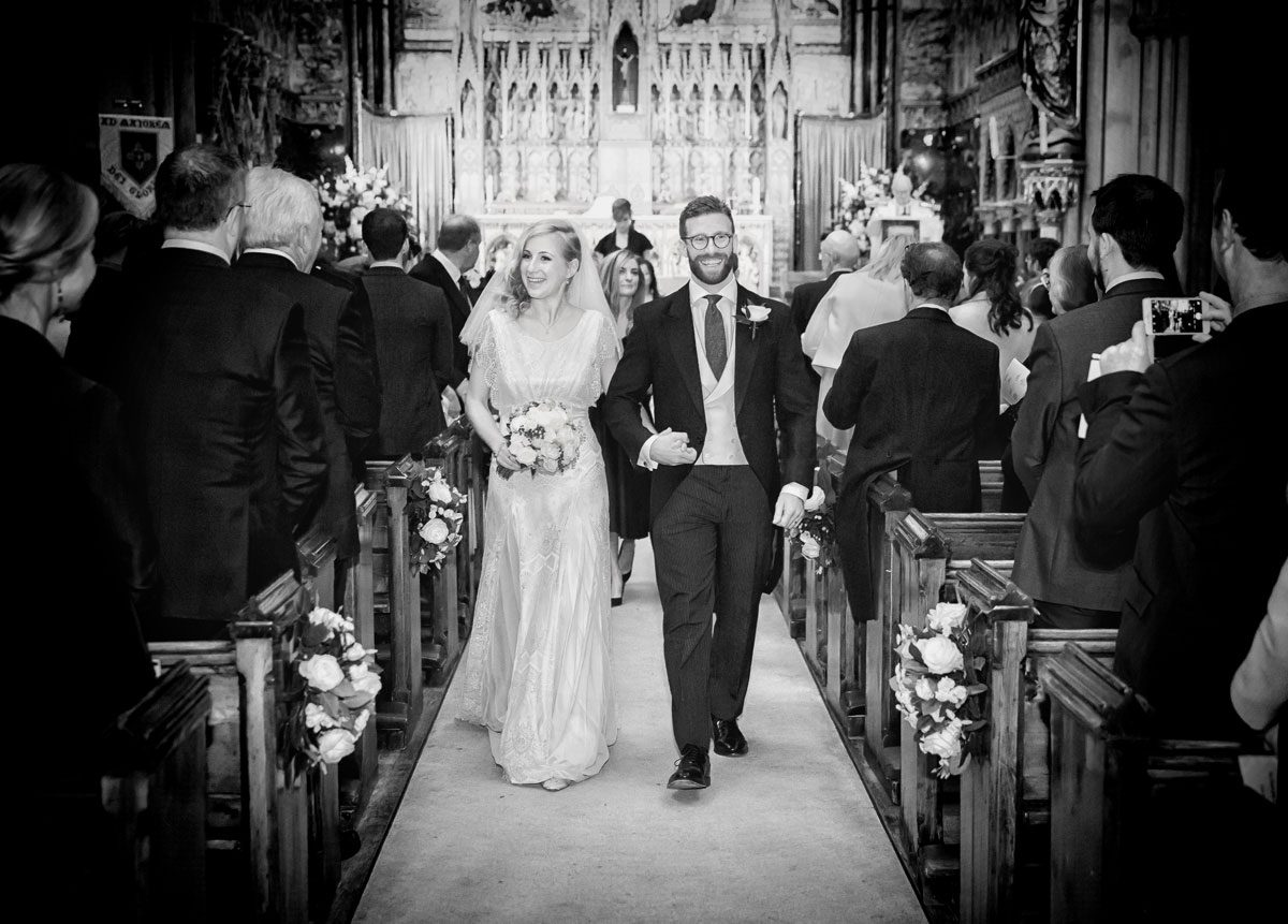 Farm Street Church wedding recessional shot London