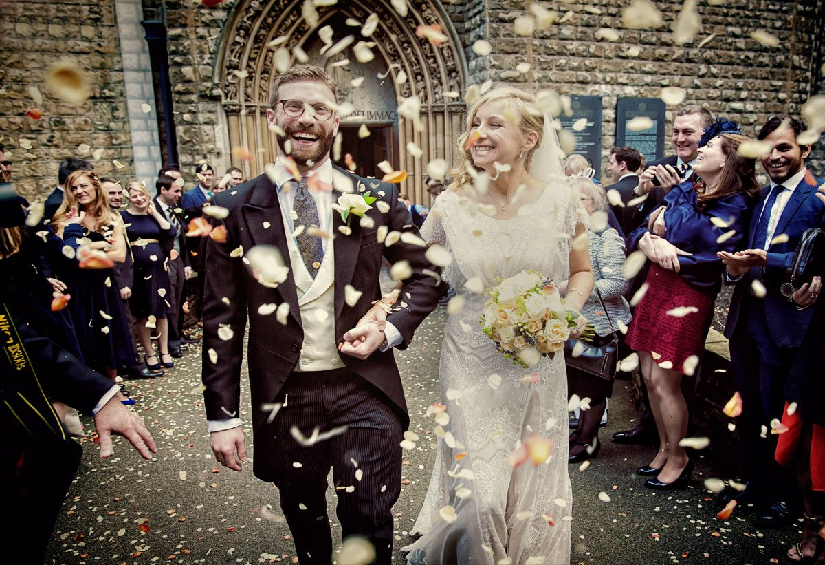 Wedding confetti outside Farm Street Church Mayfair