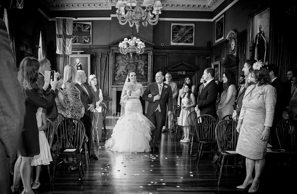 Bride comes down aisle at HAC wedding in London
