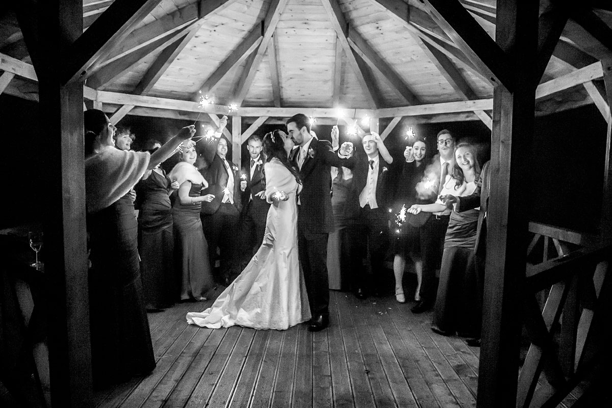 Sparklers in the pavilion at night Grovefield House wedding