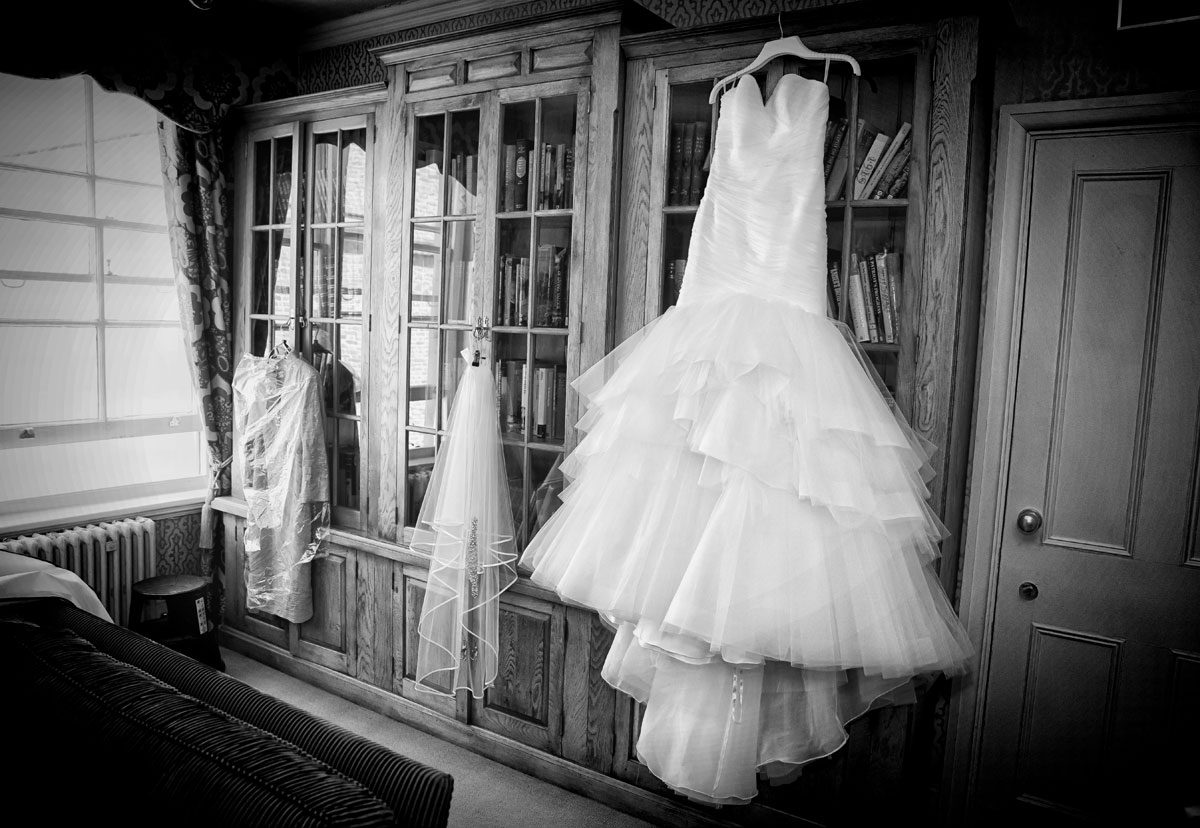 Wedding dress hanging up in the Honourable Artillery Company HAC building