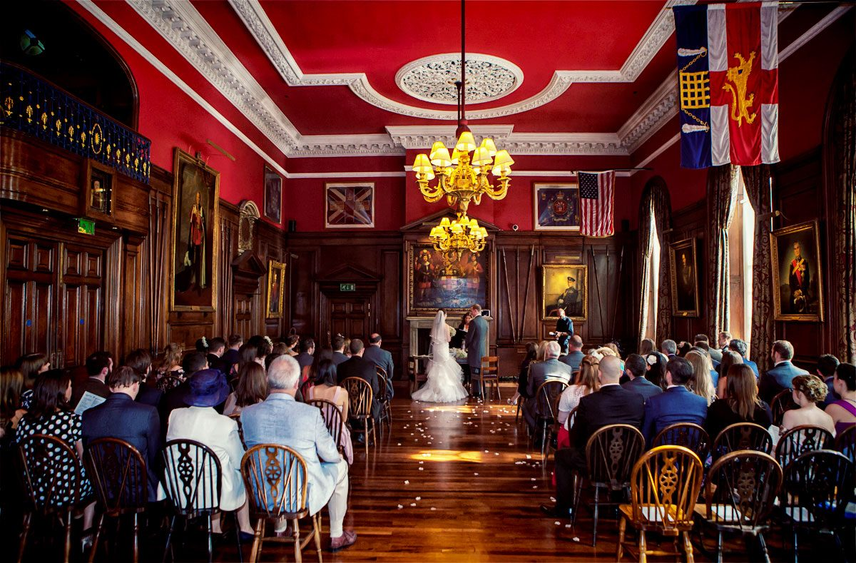 Wide shot of Honourable Royal Artillery wedding