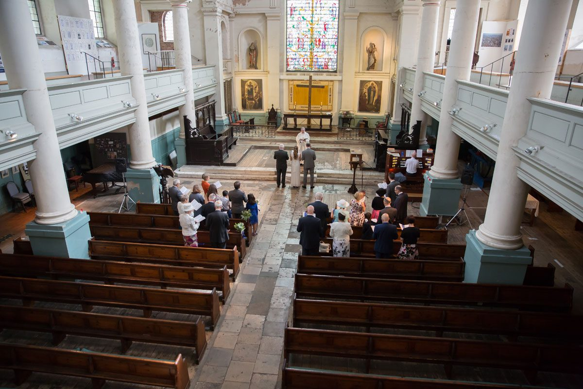 Wedding ceremony from balcony at St Leonards Shorditch
