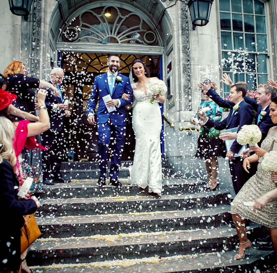 Confetti throwing at Chelsea Old Town Hall wedding