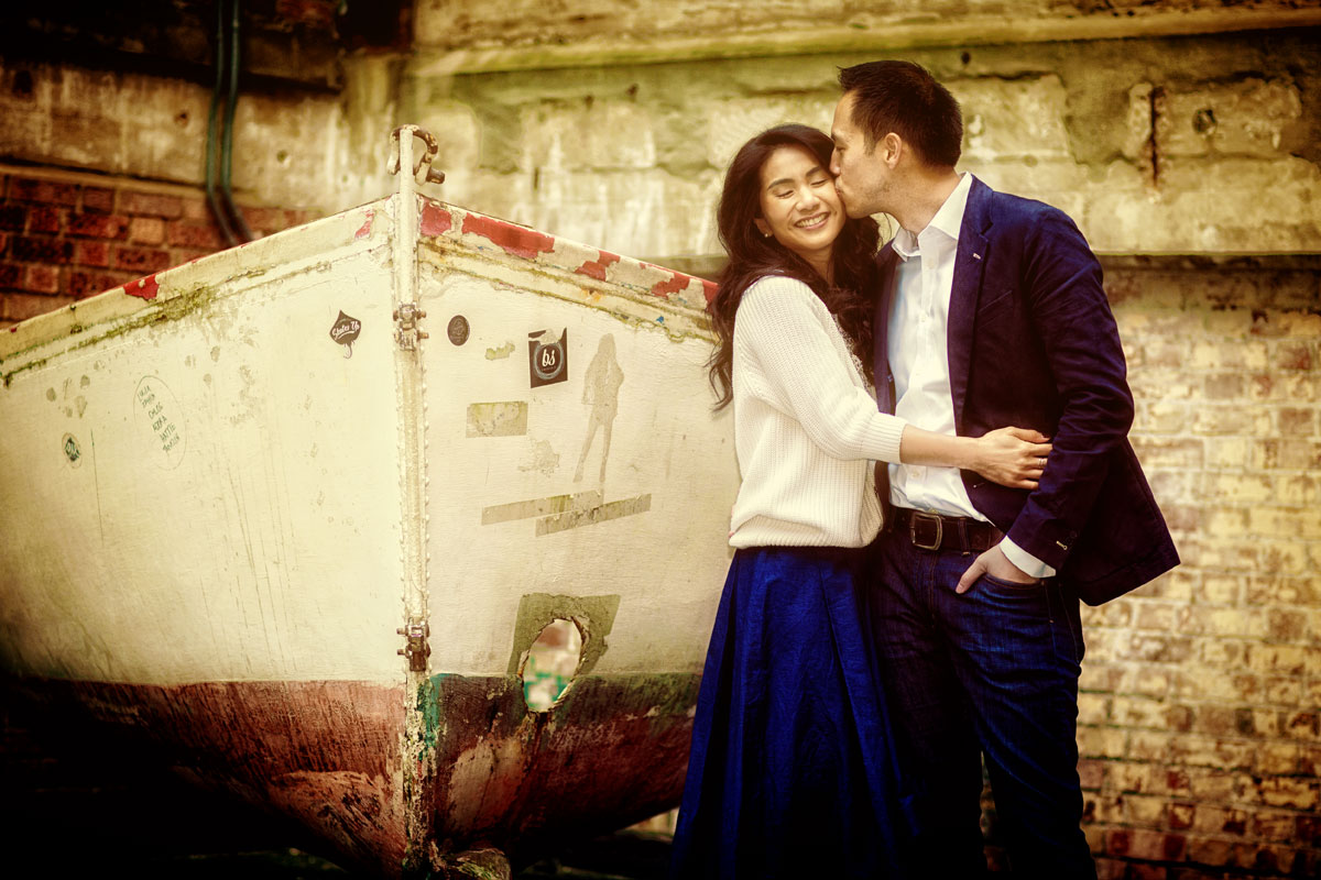 Engagement couple by boat in London Southbank