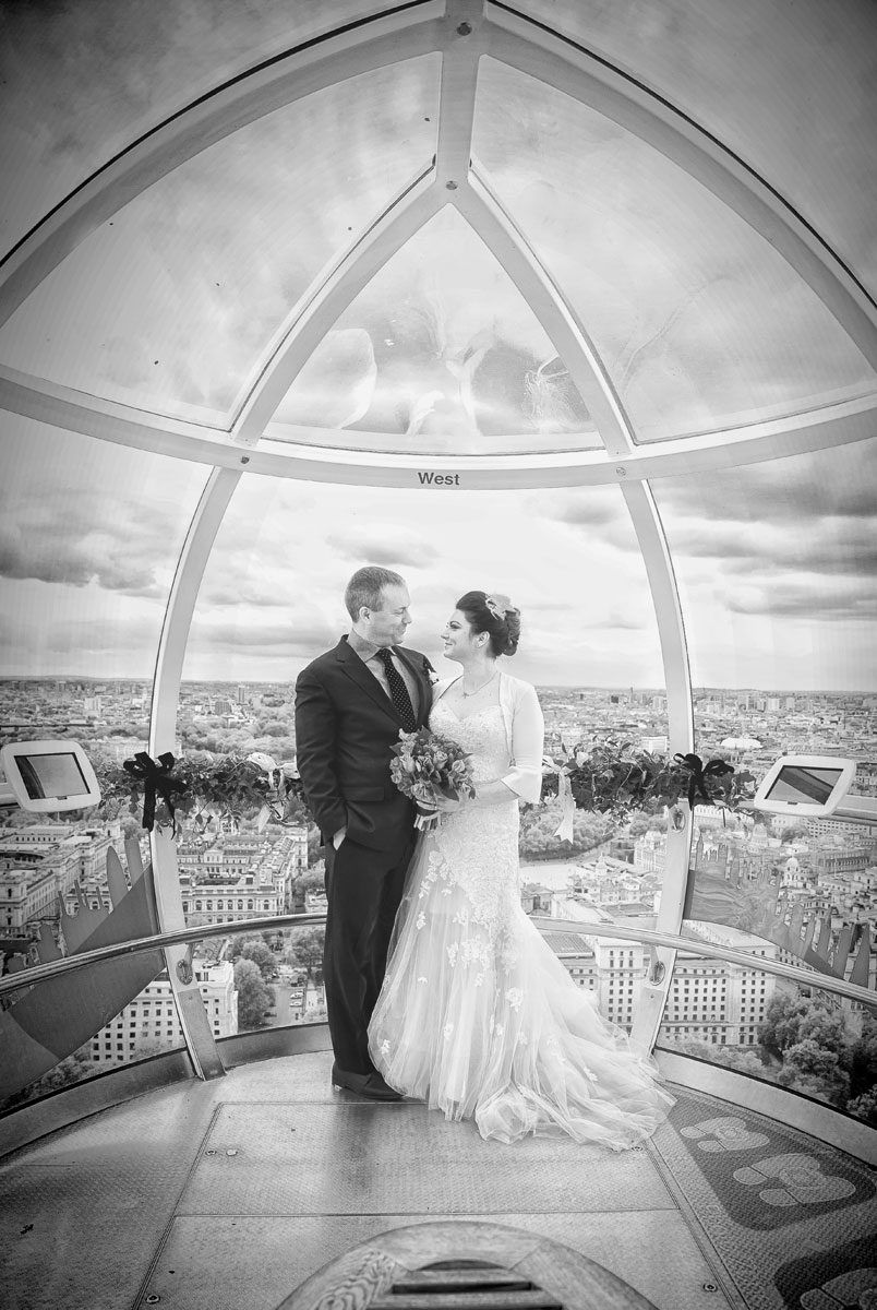 Bride and groom at London Eye wedding