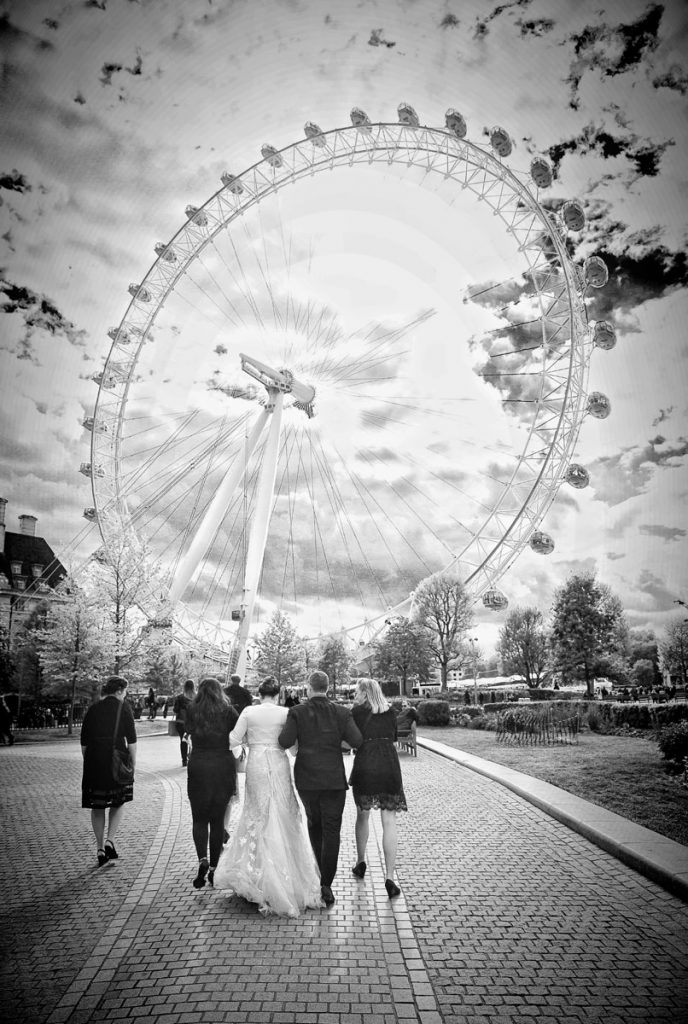 Bride and groom walking to their London Eye Wedding ceremony