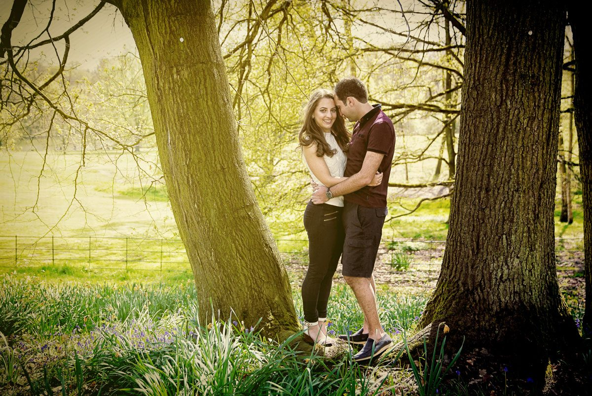 Couple hug by tree during Hampstead and Kemwood engagement photography