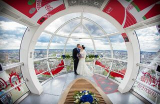 London Eye wedding photographers coca cola kiss photo