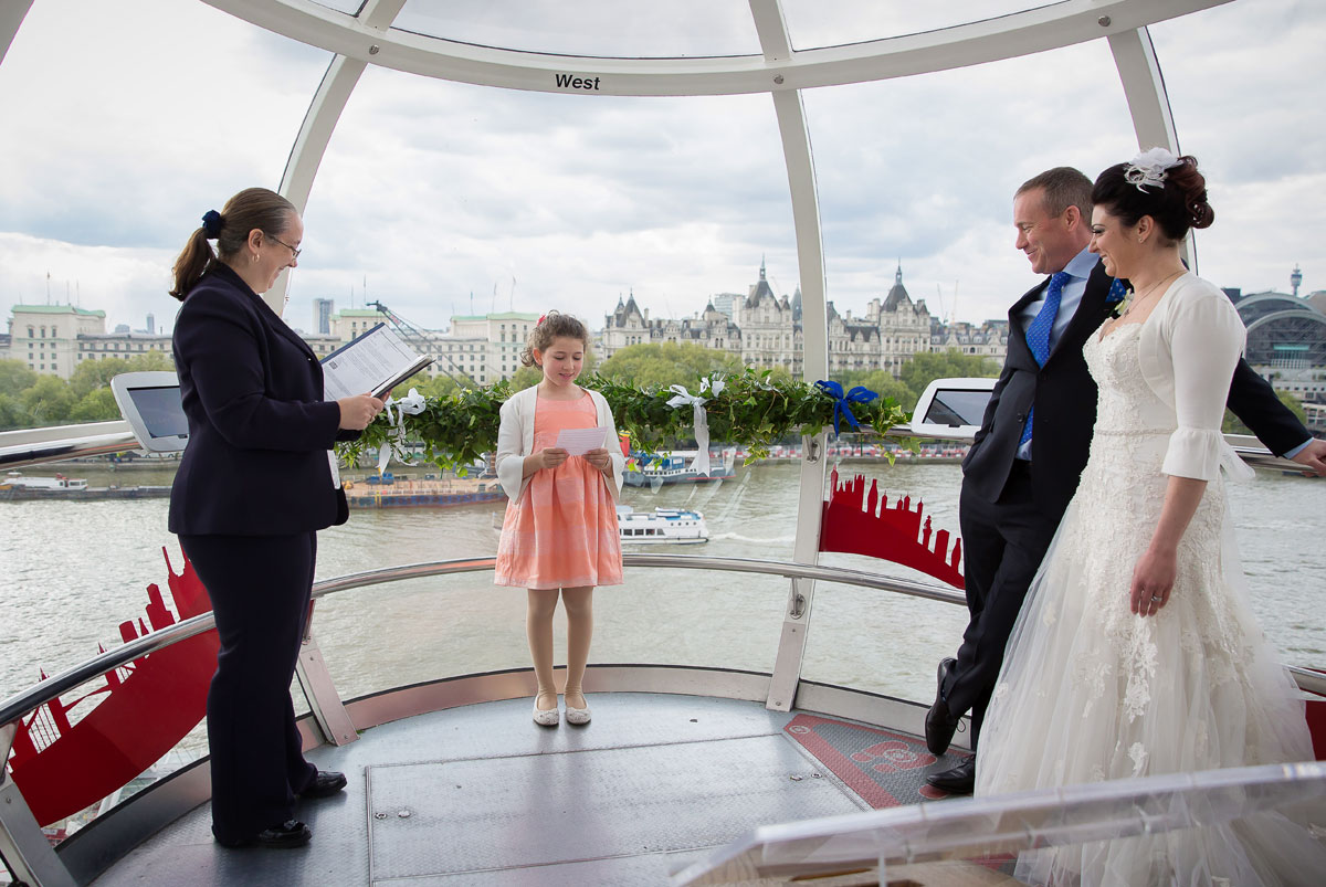 Wedding ceremony photo taken on the London Eye
