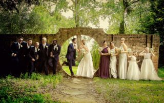 Funky photo of wedding party at Fanhams Hall Hertfordshire