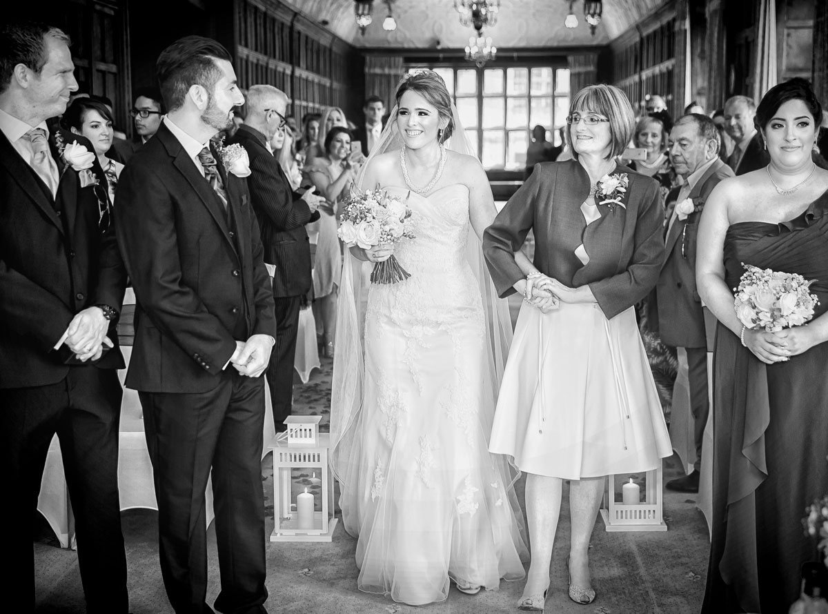 Bride sees groom for first time Fanhams Hall wedding ceremony