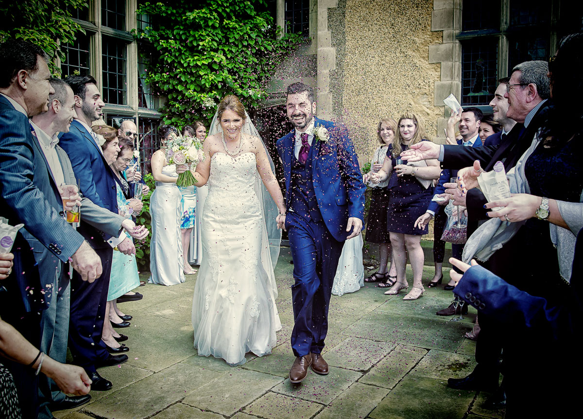 Confetti throw at Fanhams Hall wedding